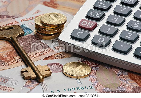 러시아어, 실상의, 개념, 돈., 재산 - csp42213984