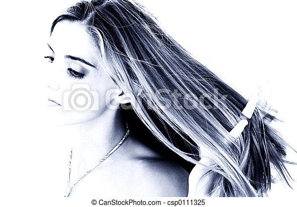 머리, 파랑, 여자, 악기의 음조를 맞추다 - csp0111325