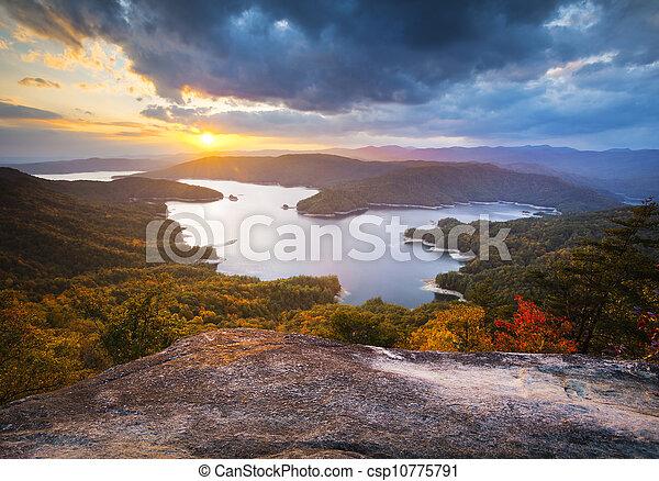 무대의, 사진술, 호수, 가을, 일몰, 남쪽, 잎, 가을, jocassee, 시골, 조경술을 써서 녹화하다, 캐롤라이나 - csp10775791