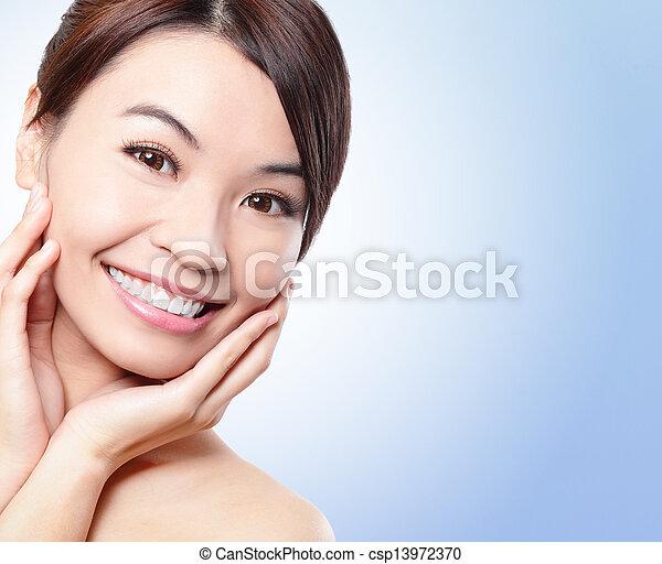 미소, 여자, 건강, 이, 얼굴 - csp13972370