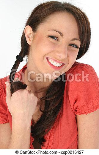 미소, 여자, 브루넷의 사람 - csp0216427
