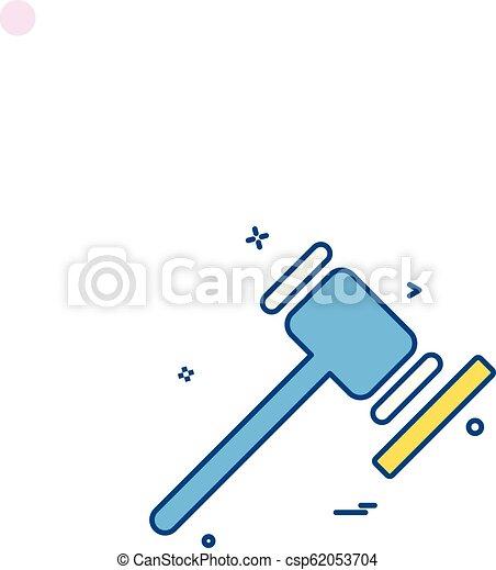 법정, 정의, 벡터, 디자인, 법, 망치, 순서, 아이콘 - csp62053704