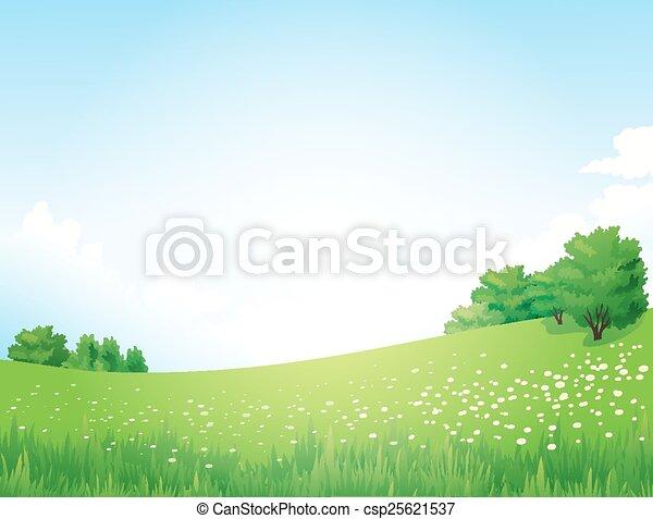 벡터, 녹색의 풍경, 나무 - csp25621537