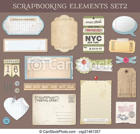 벡터, scrapbooking, 2, 세트, 성분 - csp21461357