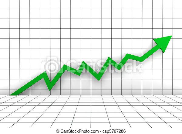 벽, 그래프, 높은, 녹색, 화살, 3차원 - csp5707286