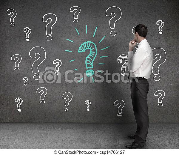 복합어를 이루어 ...으로 보이는 사람, 실업가, 질문, 뽑기, 기호 - csp14766127
