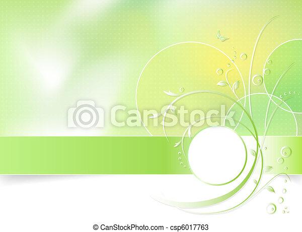 봄 꽃, 녹색의 배경 - csp6017763