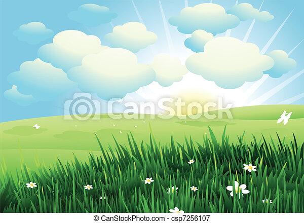 봄, 조경술을 써서 녹화하다 - csp7256107