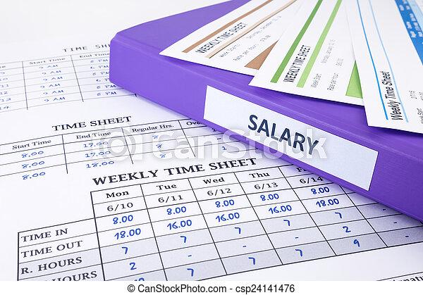 봉급, 직원, 바인더, 시트, 시간 - csp24141476