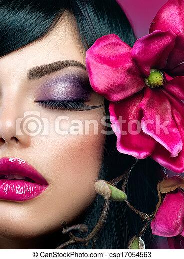 브루넷의 사람, 소녀, makeup., 아름다움, 완전한, 모델, 휴일 - csp17054563