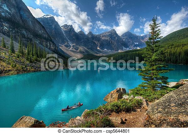 빙퇴석, 국립 공원, 호수, banff - csp5644801