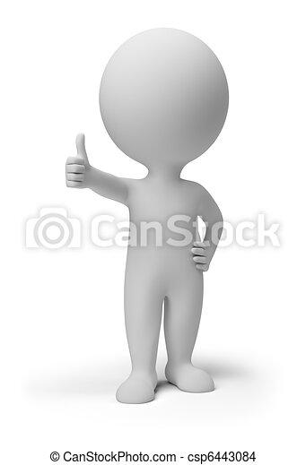 사람, 긍정적인, 자세, -, 작다, 3차원 - csp6443084
