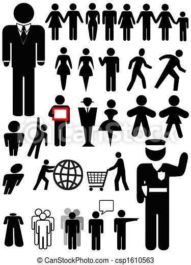 사람, 상징, 세트, 실루엣 - csp1610563