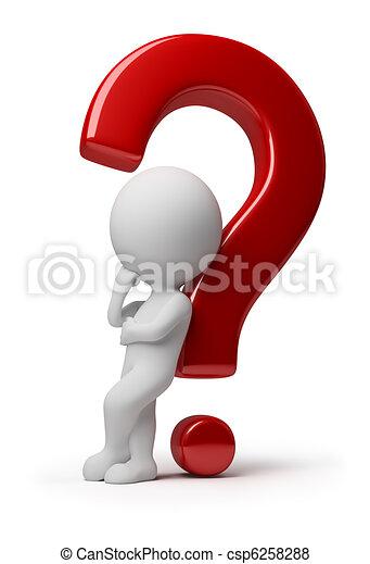 사람, -, 질문, 복잡하게 하는, 작다, 3차원 - csp6258288
