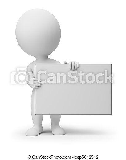 사람, -, 판자, 작다, 빈 광주리, 3차원 - csp5642512
