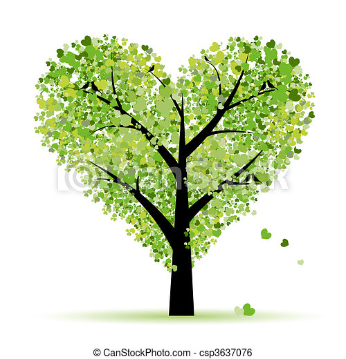 사랑, 잎, 나무, 심혼, 발렌타인 - csp3637076