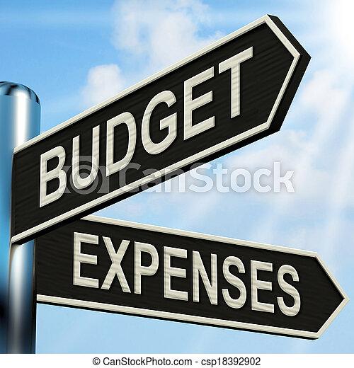사업, 은 의미한다, 푯말, 예산, 소요 경비, 회계, 균형 - csp18392902