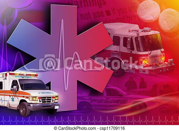 사진, 내과의, 구출, 떼어내다, 구급차 - csp11709116