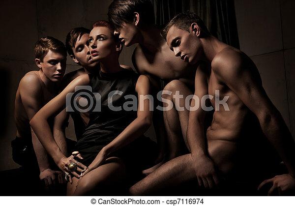 사진, 사람, 그룹, 성적 매력이 있는 - csp7116974
