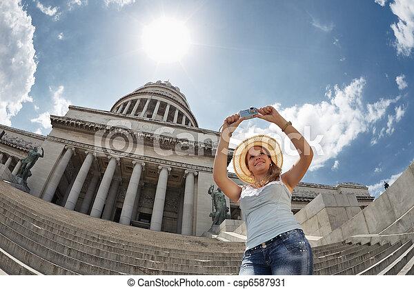 사진, 취득, 관광객, 여성, 쿠바 - csp6587931