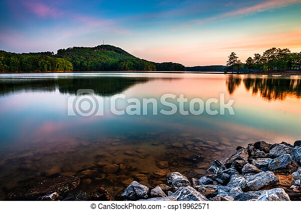 산, 북쪽, 정상, 공원, 호수, allatoona, 상태, 빨강, 애틀란타, 해돋이 - csp19962571