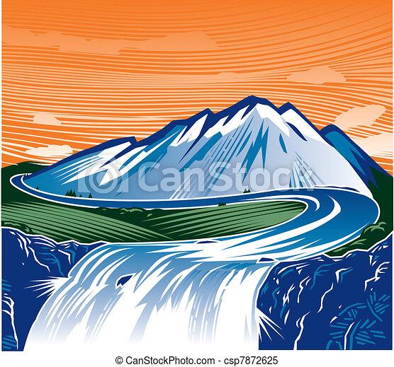 산, 폭포 - csp7872625