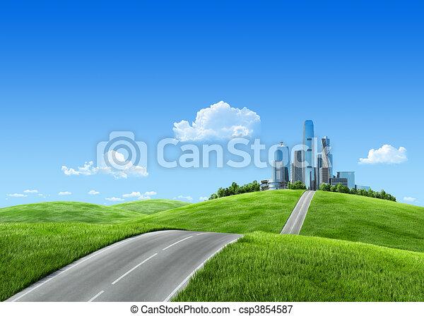 상술된다, 도시, 7000px, 매우, 수평선 - csp3854587