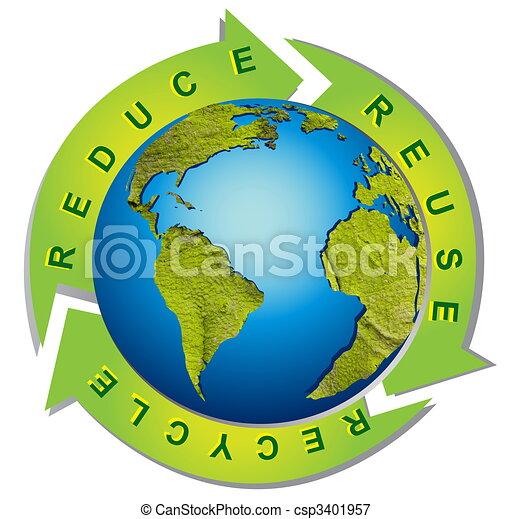 상징, 재활용, -, 환경, 날씬한, 개념의 - csp3401957