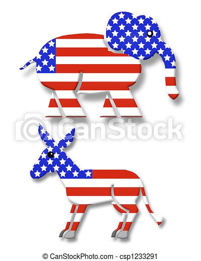 상징, 파티, 정치에 참여하는, 3차원 - csp1233291