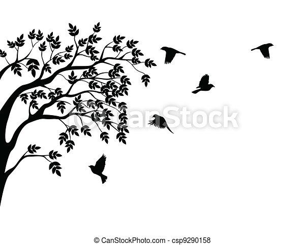 새 비행, 실루엣, 나무 - csp9290158