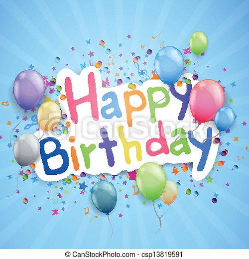생일, 벡터, 인사장, 행복하다 - csp13819591