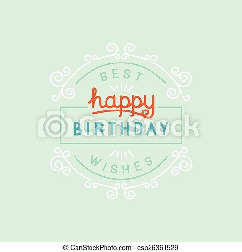 생일, 벡터, 인사장, 행복하다 - csp26361529