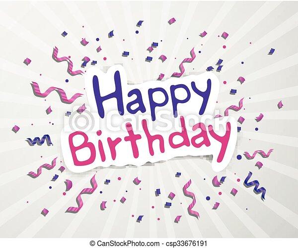 생일, 벡터, 인사장, 행복하다 - csp33676191