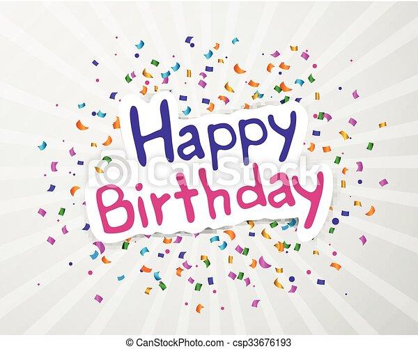 생일, 벡터, 인사장, 행복하다 - csp33676193