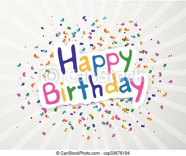 생일, 벡터, 인사장, 행복하다 - csp33676194
