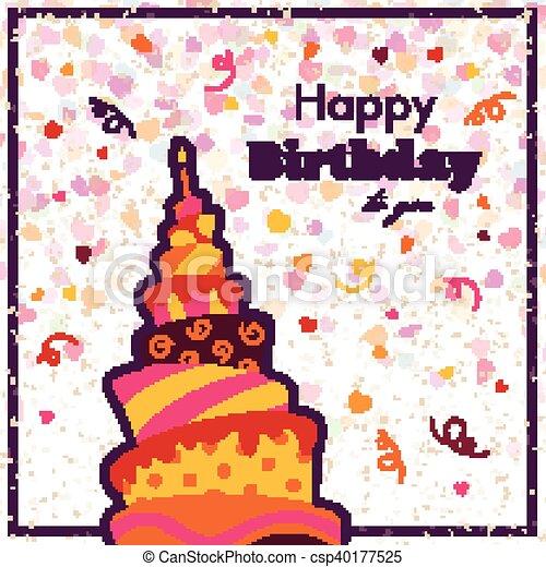 생일, 벡터, 인사장, 행복하다 - csp40177525