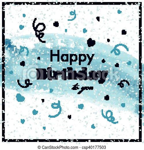 생일, 벡터, 인사장, 행복하다 - csp40177503