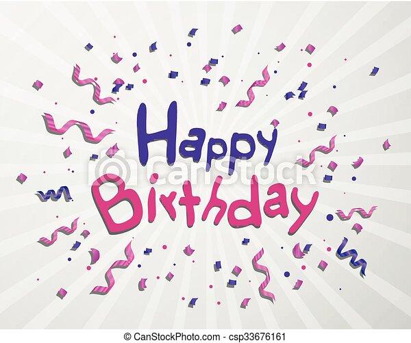 생일, 벡터, 인사장, 행복하다 - csp33676161