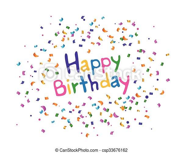 생일, 벡터, 인사장, 행복하다 - csp33676162