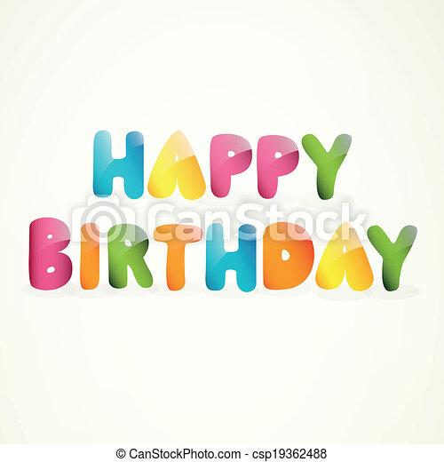 생일, 벡터, 인사장, 행복하다 - csp19362488