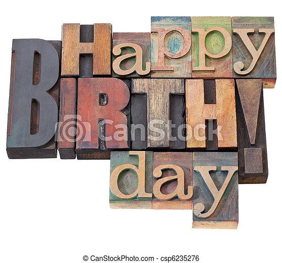 생일, 유형, 활판 인쇄, 행복하다 - csp6235276
