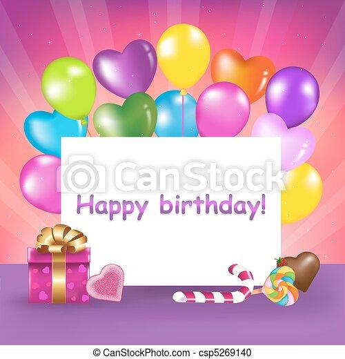 생일 카드, 행복하다 - csp5269140