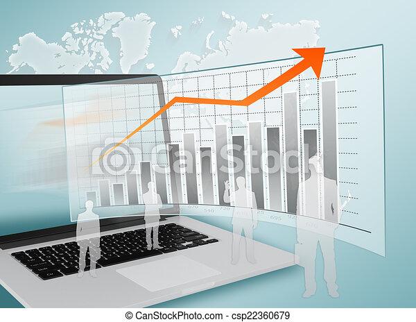 서 있는, 실업가, 그래프, 휴대용 퍼스널 컴퓨터, 배경. - csp22360679