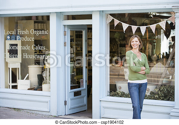 서 있는, 여자, 유기 음식, 정면, 미소, 상점 - csp1904102