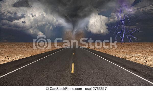 선풍, 깔때기, 조경술을 써서 녹화하다, 사막, 길 - csp12763517