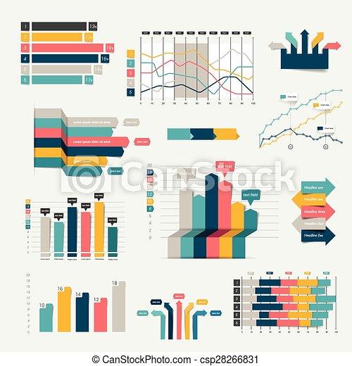 세트, 사업, 바람 빠진 타이어, charts., graph., 디자인, infographics, 3차원 - csp28266831