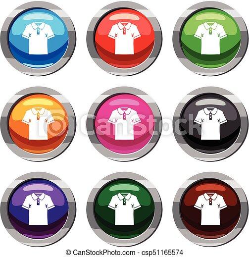 세트, 셔츠, 사람, 수집, 폴로, 9 - csp51165574