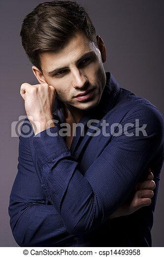 셔츠, 우아한, 초상, 유행, 남자, 잘생긴 - csp14493958
