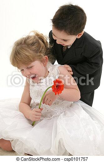 소년, 소녀, 웃음 - csp0101757
