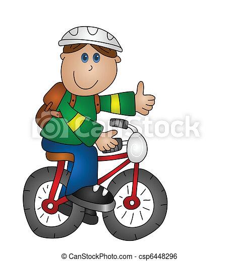 소년, 자전거 - csp6448296